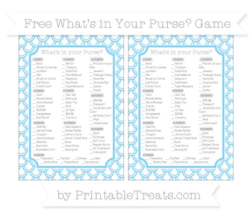 Free Baby Blue Fish Scale Pattern What's in Your Purse Baby Shower Game