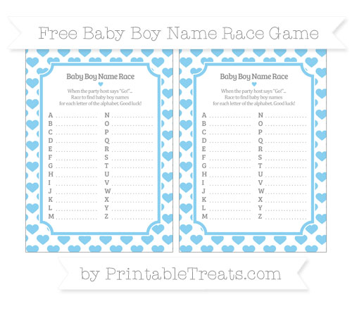 Free Baby Blue Heart Pattern Baby Boy Name Race Game