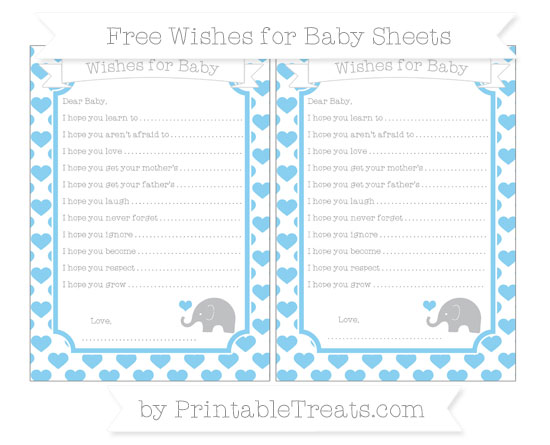 Free Baby Blue Heart Pattern Baby Elephant Wishes for Baby Sheets