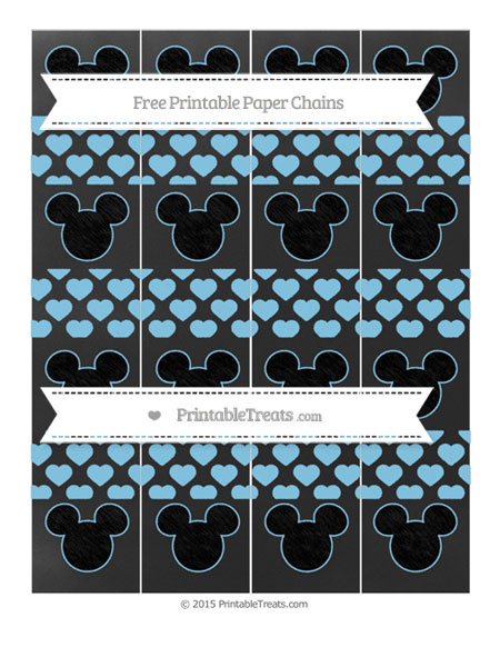 Free Baby Blue Heart Pattern Chalk Style Mickey Mouse Paper Chains