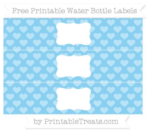 Free Baby Blue Heart Pattern Water Bottle Labels