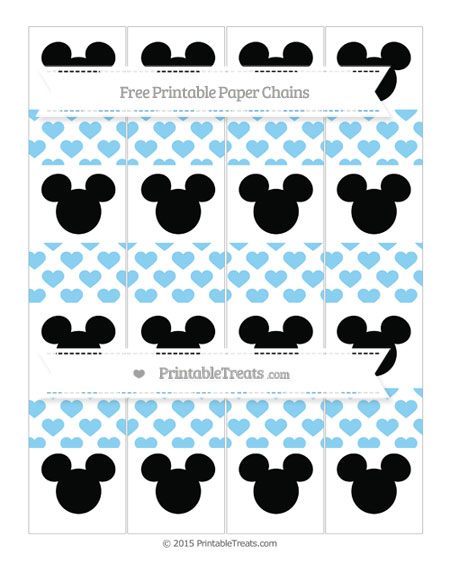 Free Baby Blue Heart Pattern Mickey Mouse Paper Chains