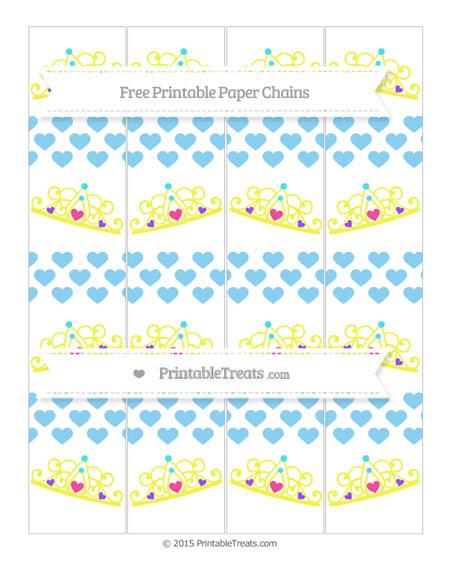 Free Baby Blue Heart Pattern Princess Tiara Paper Chains