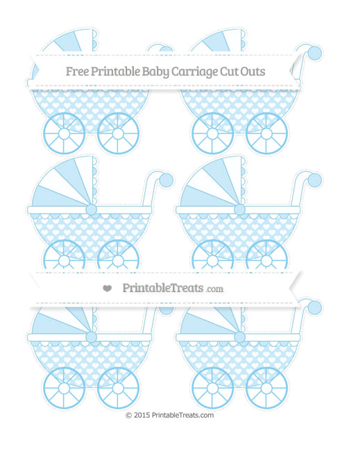 Free Baby Blue Heart Pattern Small Baby Carriage Cut Outs