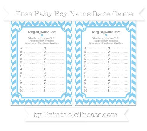 Free Baby Blue Herringbone Pattern Baby Boy Name Race Game