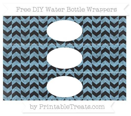 Free Baby Blue Herringbone Pattern Chalk Style DIY Water Bottle Wrappers