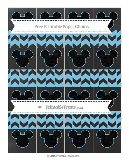 Free Baby Blue Herringbone Pattern Chalk Style Mickey Mouse Paper Chains