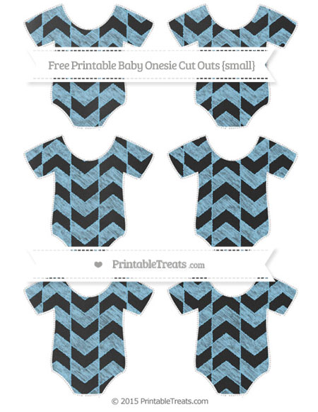 Free Baby Blue Herringbone Pattern Chalk Style Small Baby Onesie Cut Outs