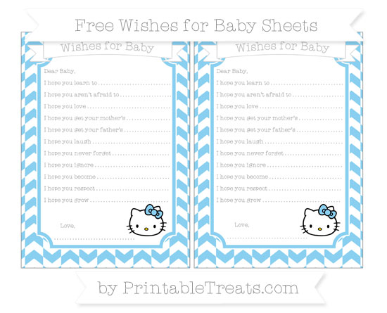 Free Baby Blue Herringbone Pattern Hello Kitty Wishes for Baby Sheets