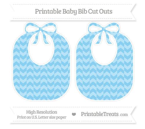 Free Baby Blue Herringbone Pattern Large Baby Bib Cut Outs