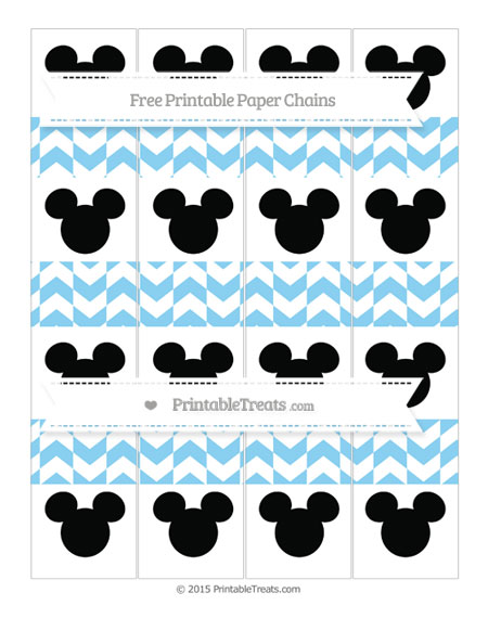 Free Baby Blue Herringbone Pattern Mickey Mouse Paper Chains