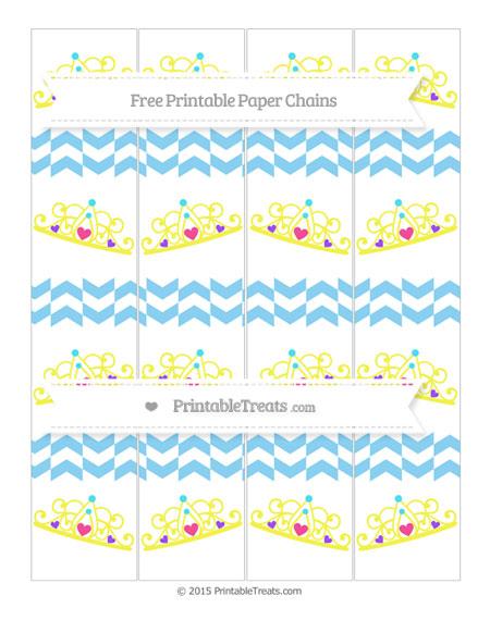 Free Baby Blue Herringbone Pattern Princess Tiara Paper Chains