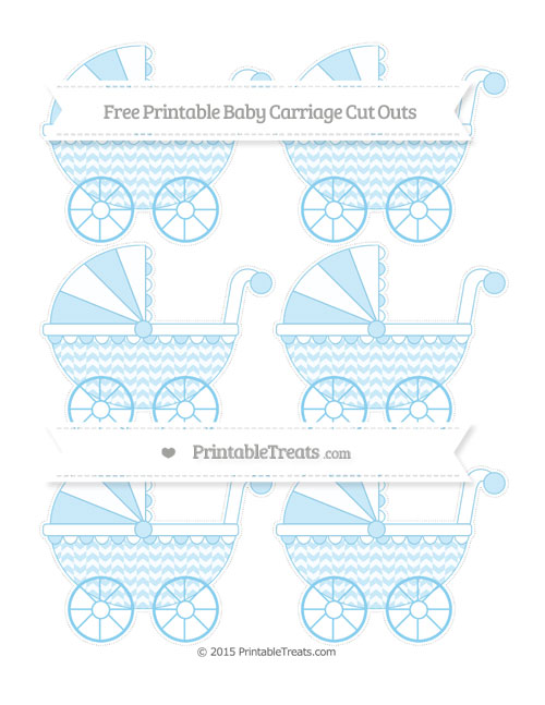 Free Baby Blue Herringbone Pattern Small Baby Carriage Cut Outs