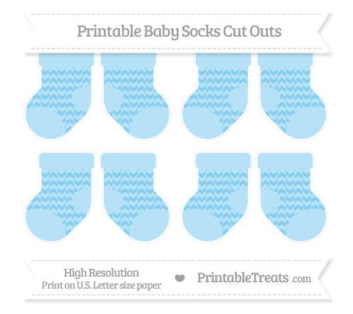 Free Baby Blue Herringbone Pattern Small Baby Socks Cut Outs
