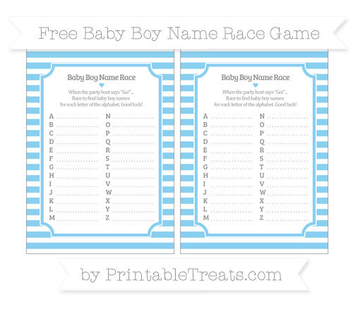 Free Baby Blue Horizontal Striped Baby Boy Name Race Game