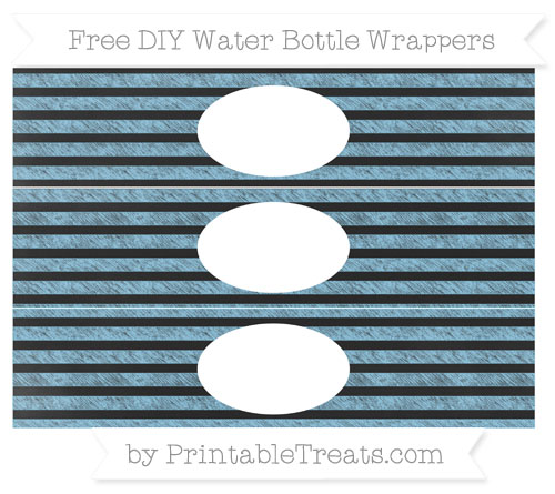 Free Baby Blue Horizontal Striped Chalk Style DIY Water Bottle Wrappers