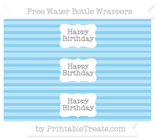Free Baby Blue Horizontal Striped Happy Birhtday Water Bottle Wrappers