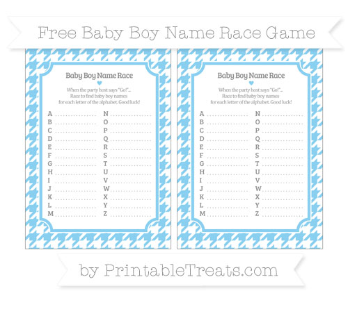 Free Baby Blue Houndstooth Pattern Baby Boy Name Race Game
