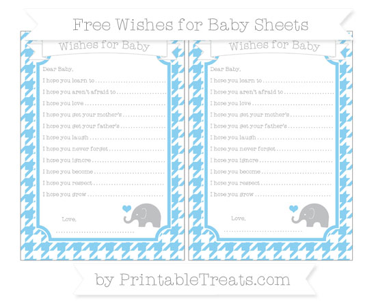 Free Baby Blue Houndstooth Pattern Baby Elephant Wishes for Baby Sheets