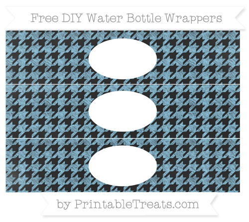 Free Baby Blue Houndstooth Pattern Chalk Style DIY Water Bottle Wrappers
