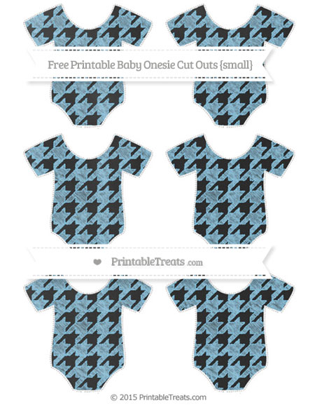 Free Baby Blue Houndstooth Pattern Chalk Style Small Baby Onesie Cut Outs