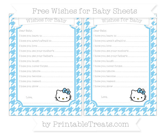 Free Baby Blue Houndstooth Pattern Hello Kitty Wishes for Baby Sheets