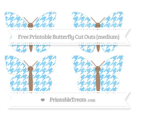 Free Baby Blue Houndstooth Pattern Medium Butterfly Cut Outs