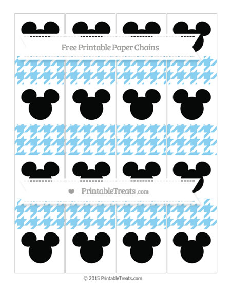 Free Baby Blue Houndstooth Pattern Mickey Mouse Paper Chains
