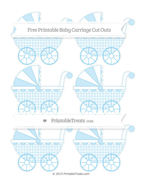 Free Baby Blue Houndstooth Pattern Small Baby Carriage Cut Outs