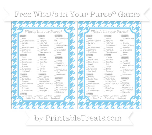 Free Baby Blue Houndstooth Pattern What's in Your Purse Baby Shower Game