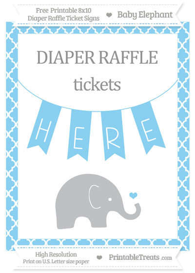 Free Baby Blue Moroccan Tile Baby Elephant 8x10 Diaper Raffle Ticket Sign