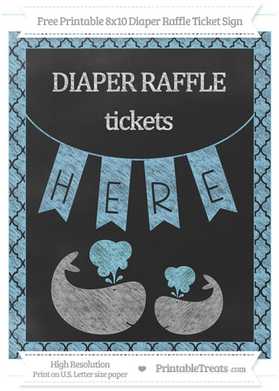 Free Baby Blue Moroccan Tile Chalk Style Baby Whale 8x10 Diaper Raffle Ticket Sign