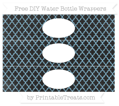 Free Baby Blue Moroccan Tile Chalk Style DIY Water Bottle Wrappers