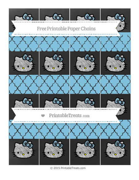 Free Baby Blue Moroccan Tile Chalk Style Hello Kitty Paper Chains