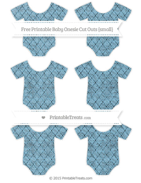Free Baby Blue Moroccan Tile Chalk Style Small Baby Onesie Cut Outs