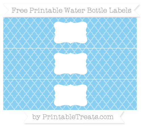 Free Baby Blue Moroccan Tile Water Bottle Labels