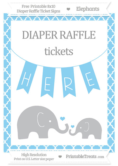 Free Baby Blue Moroccan Tile Elephant 8x10 Diaper Raffle Ticket Sign