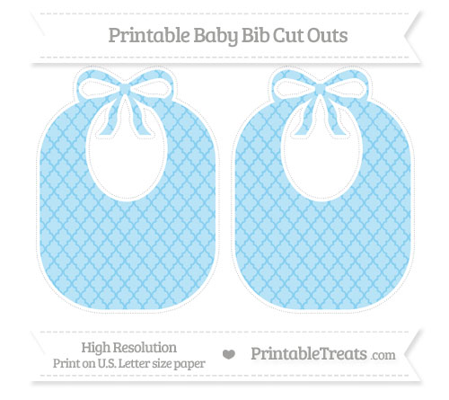 Free Baby Blue Moroccan Tile Large Baby Bib Cut Outs