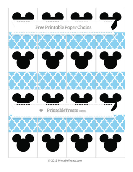 Free Baby Blue Moroccan Tile Mickey Mouse Paper Chains