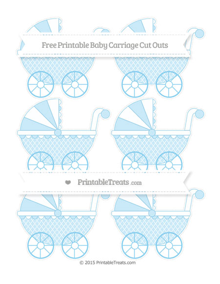 Free Baby Blue Moroccan Tile Small Baby Carriage Cut Outs