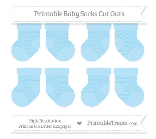 Free Baby Blue Moroccan Tile Small Baby Socks Cut Outs