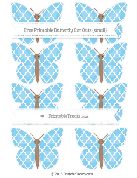 Free Baby Blue Moroccan Tile Small Butterfly Cut Outs