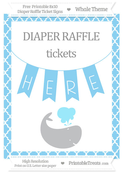 Free Baby Blue Moroccan Tile Whale 8x10 Diaper Raffle Ticket Sign