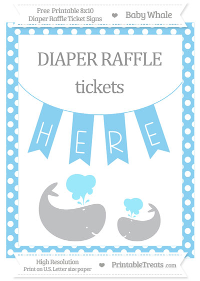 Free Baby Blue Polka Dot Baby Whale 8x10 Diaper Raffle Ticket Sign