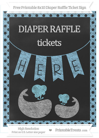 Free Baby Blue Polka Dot Chalk Style Baby Whale 8x10 Diaper Raffle Ticket Sign
