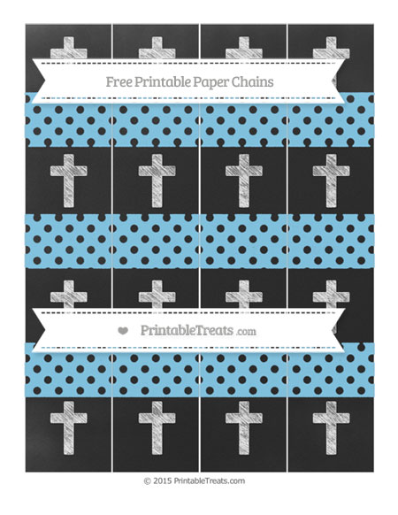 Free Baby Blue Polka Dot Chalk Style Cross Paper Chains