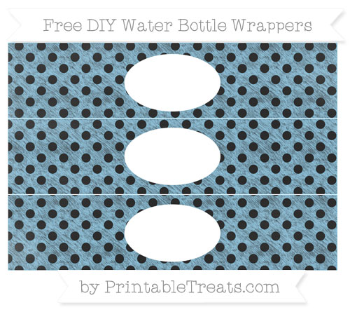 Free Baby Blue Polka Dot Chalk Style DIY Water Bottle Wrappers