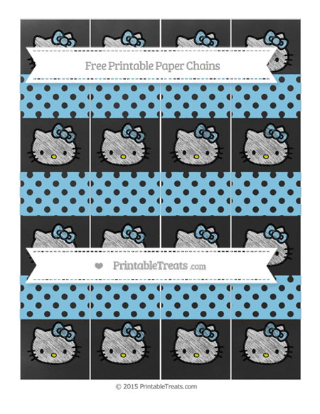 Free Baby Blue Polka Dot Chalk Style Hello Kitty Paper Chains
