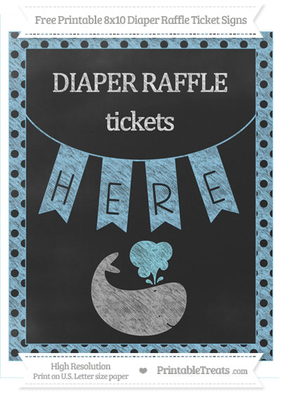 Free Baby Blue Polka Dot Chalk Style Whale 8x10 Diaper Raffle Ticket Sign