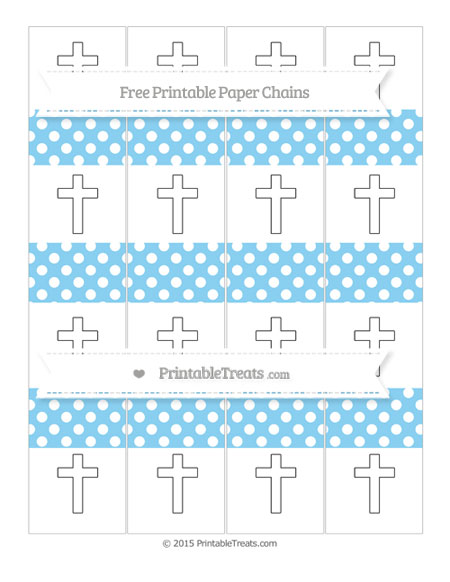 Free Baby Blue Polka Dot Cross Paper Chains